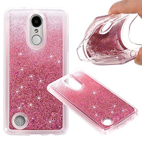 KAMII LG Aristo Case, LG K8 (2017) Case, LG LV3 Case, 3D Sparkle Moving Stars Bling Glitter Floating Dynamic Flowing Soft TPU Gel Rubber Case Cover for LG K8 2017 ()