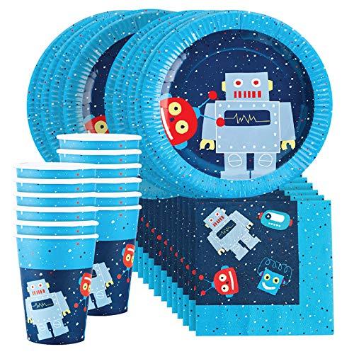 Robot Party Supplies Set for 12 - Includes 36 pcs Total: 12 Cups, 12 Plates, 12 Napkins