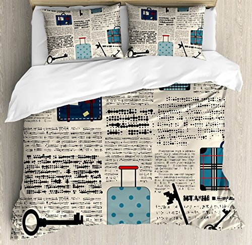 (Ambesonne Old Newspaper Decor Duvet Cover Set Queen Size, Retro Style Travel Vacation Theme Vintage Suitcases Keys Dot Text, Decorative 3 Piece Bedding Set with 2 Pillow Shams, Cream Blue Black)