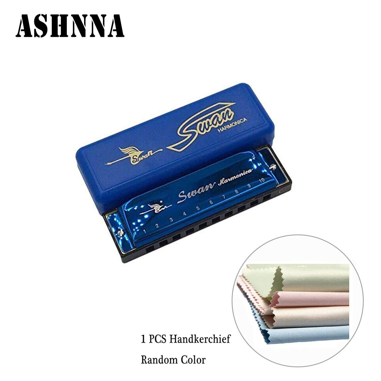 Harmonicas 10 Hole 20 Tones with Storage Case Harmonica 1-Pack Diatonic Blues Key of C by Ashnna