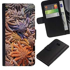 For HTC One M8,S-type® Star Coral Diving Surf Ocean Summer - Dibujo PU billetera de cuero Funda Case Caso de la piel de la bolsa protectora