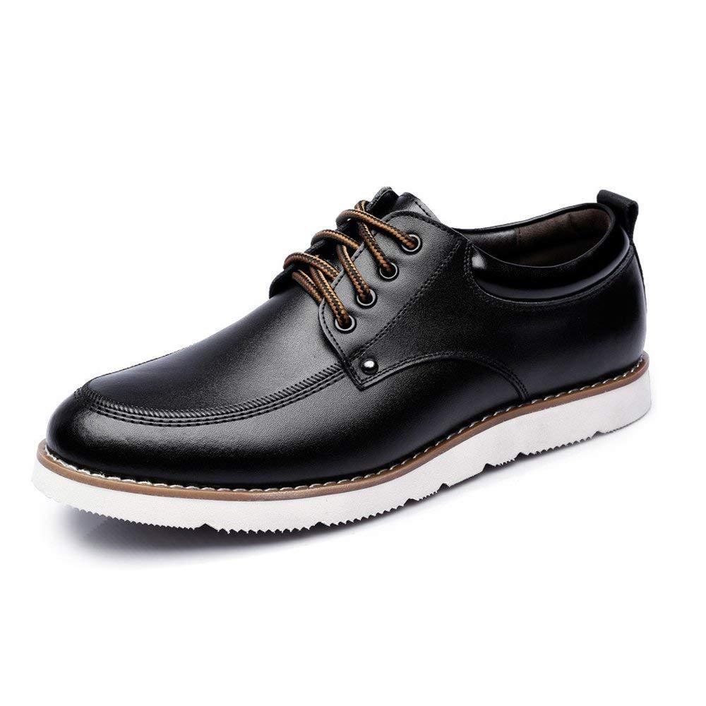 FuweiEncore 2018 Herren Lace up Loafers Schuhe PU-Leder Casual Business Weiche Sohle Wohnungen Oxfords für Herren (Farbe   Braun, Größe   45 EU) (Farbe   Schwarz, Größe   43 EU)
