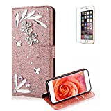Funyye 3D Bling Flower Diamond Wallet Leather Case for iPhone 7 Plus/8 Plus,Rose Gold Premium Glitter Crystal Shiny Rhinestone PU Leather Protective Cover Case,Multifunctional Magnetic Flip with Stand Credit Card Holder Slots Case for iPhone 7 Plus/8 Plus 5.5 inch + 1 x Free Screen Protector