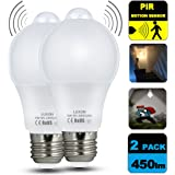 Motion Sensor Light Bulb 5W Dusk To Dawn Pir Built-In Motion Detector Bulbs E26 Base A19 Indoor Outdoor LED Light Bulbs 2700K Soft White 450 Lumens Night Lights 2 Pack By LUXON