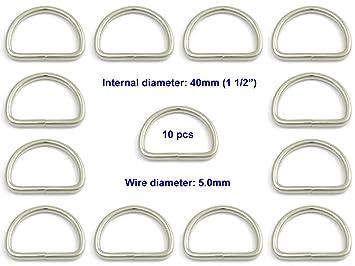Nickel Plated Steel 40mm Welded D RING