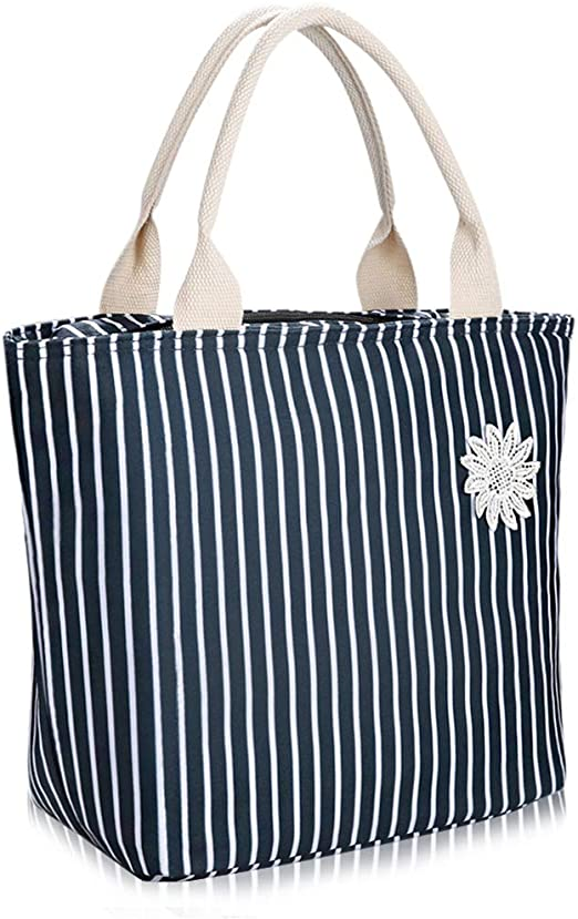 Dark Blue /& White Stripe VARANO Lunch Bags for Women//Girls Insulated Lunch Box Lunch Tote Cooler Bag with Drink Holder Fashionable Insulated Lunchbox for Picnic School Work