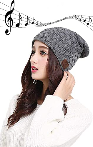 Uchoice Beanie with Bluetooth Wireless Hat with Headphone Music Hat Knit Unisex for Sports Running Walking Gifts Dark Gray-Stripe2