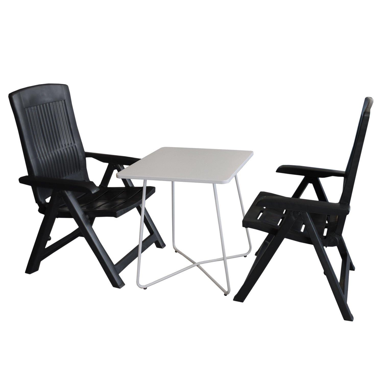 Balkonmöbel Set Bistrotisch, Metall, 60x60cm, Weiß + 2x Klappbarer  Gartenstuhl Klappstuhl