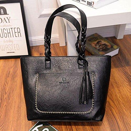 Party Fashion Halijack Women Leather PU Tote Messenger Classic Bag Zipper Handbag Bags Vintage Handbag Shoulder Shopping Bag Casual Sale Clearance Black Purse Ladies Bag Holidays q4XfBBx