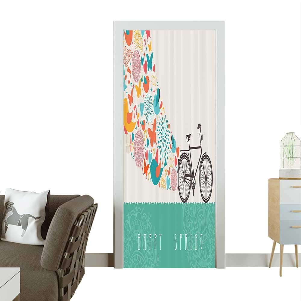 color02 W30 x H80 INCH Door Art StickerHand Drawn Bicycle with an Extending Flower Path Sixties Hippie shi Times Funk Room decorationW38.5 x H79 INCH