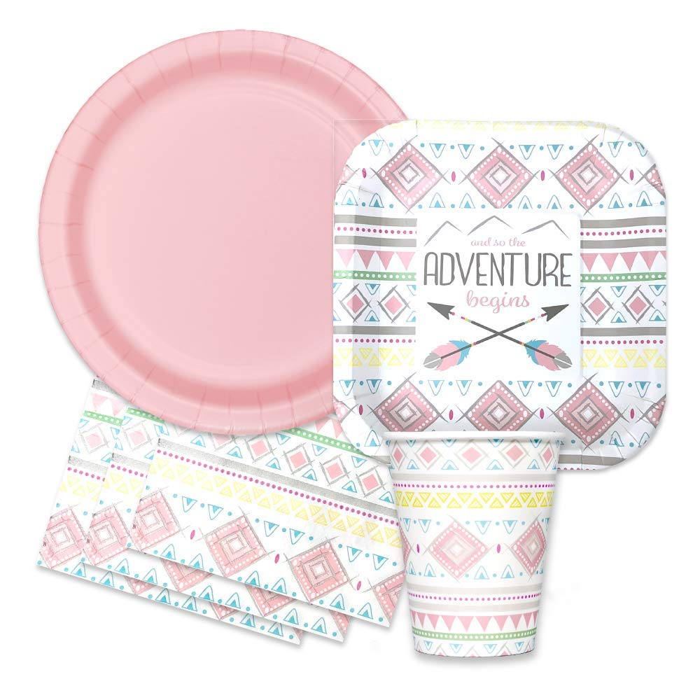 Boho Tribal Baby Shower Party Supplies Set -''and So The Adventure Begins'' Themed Paper Plates, Napkins by FAKKOS Design