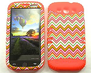 SHOCKPROOF HYBRID CELL PHONE COVER PROTECTOR FACEPLATE HARD CASE AND ORANGE SKIN WITH STYLUS PEN. KOOL KASE ROCKER FOR SAMSUNG GALAXY S III S3 I9300 CHEVRON OR-TE599