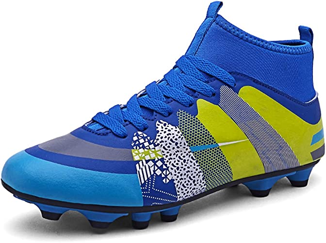 VVTTY Breathable High-Top Football Boots with Cleat for Unisex Boys//Girls Soccer Shoes Lace-Up