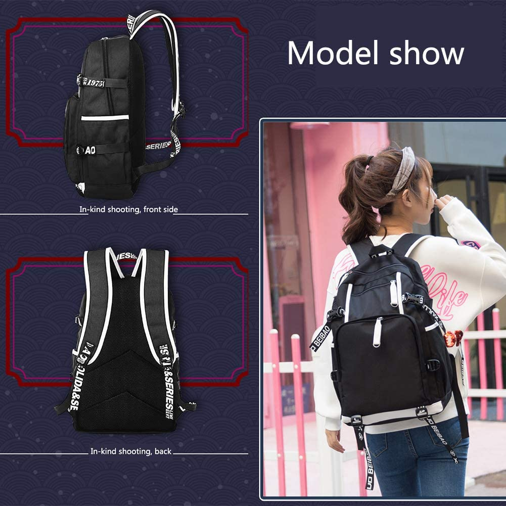 My Hero Academia Bookbag Anime Print Cosplay Backpack Daypack Laptop Bag with USB Charging Port for Students Men Women