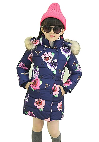 96db52682 Girls Winter Warm Puffa Coat Jacket Quilted Hooded School Clothing ...