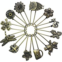 Ababalaya 12 Pcs Decorative Bronze Assorted Safety Pins Vintage Hijab Pins Retro Brooches