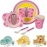 BIOZOYG Set da Cucina in bambù per Bambini da 5 Pezzi Motivo: FarfallaI Servizio da tavola per Bambini Ciotola Muesli Bicchiere Piatti Bambini I Riciclaggio del Materiale Naturale Senza BPA