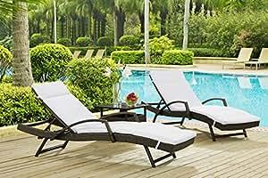 Patio Árbol muebles 3piezas ajustable Armadas mimbre Chaise Lounge Set, color blanco