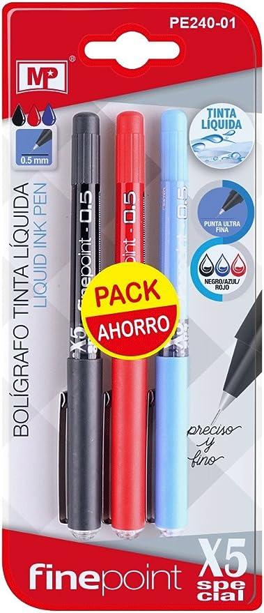 MP PE240-01 - Pack de 3 bolígrafos de tinta líquida, color negro ...