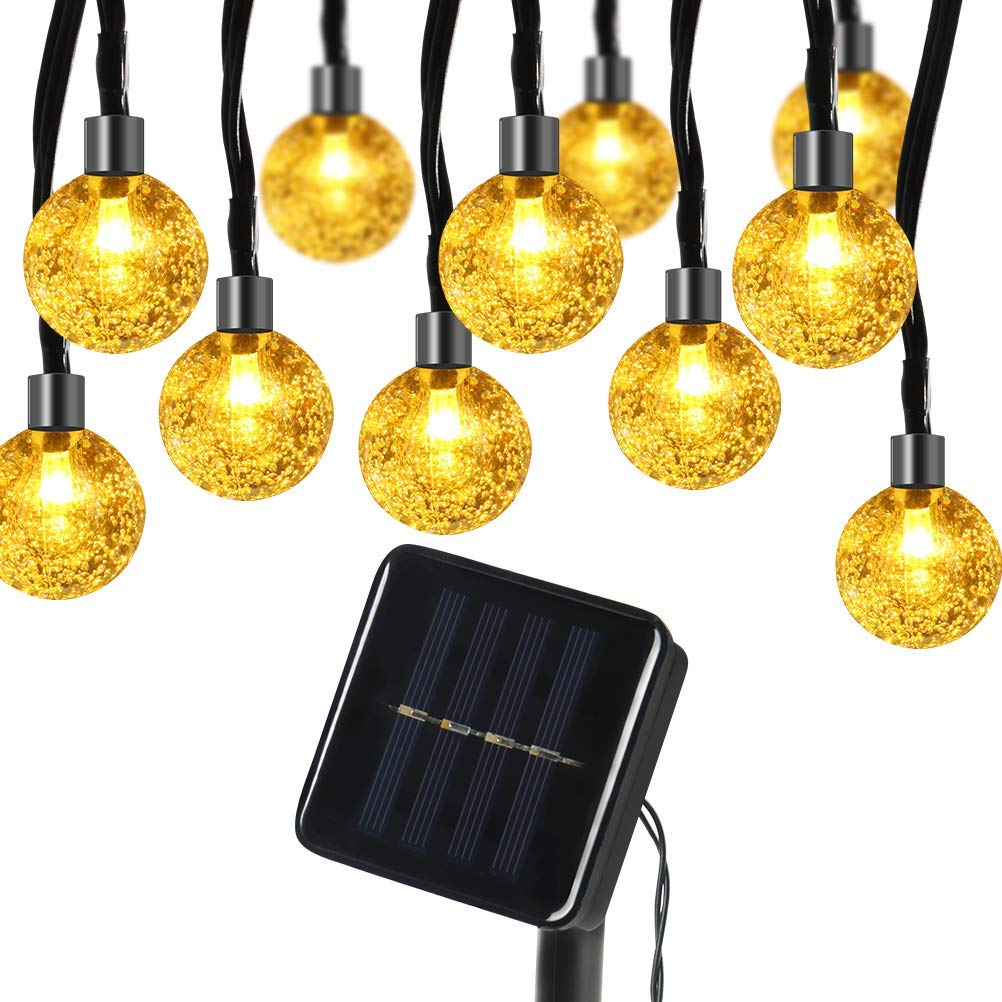 Kndio Globe Solar String Lights 30 LED 21ft 8 Mode Bubble Crystal Ball Christmas Fairy String Lights for Outdoor Xmas Landscape Garden Patio Home Holiday Path Lawn Party Decoration (WarmWhite)