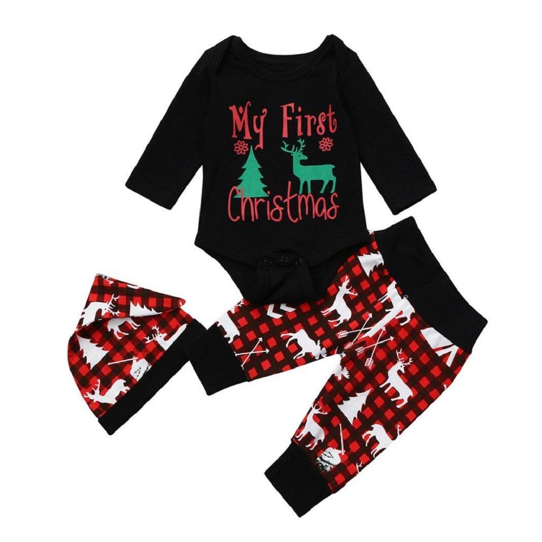 Sisit Première Noir tenue de Noël pour bébé garçon / enfants Lettre de Noël Combi-short + Pantalon + Hat Deer Ensemble de 3 pièces pour garder votre bébé au chaud à Noël