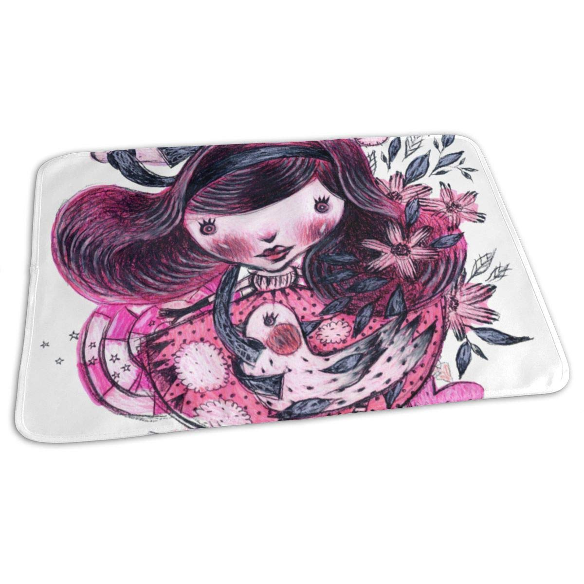 Osvbs Lovely Baby Reusable Waterproof Portable Pink Cute Horror Girl Changing Pad Home Travel 27.5''x19.7'' by Osvbs