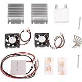 KKmoon DIY Kit Thermoelektrischer Peltier Kühler Kühlung Kühlsystem Kühlerleitungsmodul + 2 Lüfter + 2 TEC1-12706
