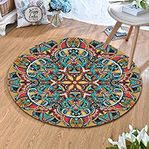 Round Rugs Thin and Light Carpet,for Living Room & Bedroom & Computer Chair Non-Slip Short Hairs Mats (Size : 120CM),1