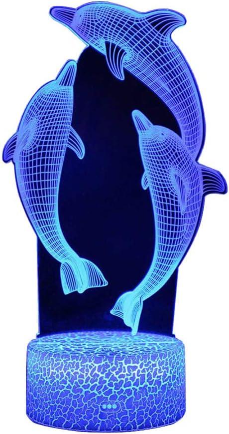 Nachtlicht f/ür Kinder Ozean Delfin 3D Nachtlicht Porpoise Nacht lampe 16 Farbwechsel Weihnachten Halloween Geburtstagsgeschenk f/ür Kind Baby Boy