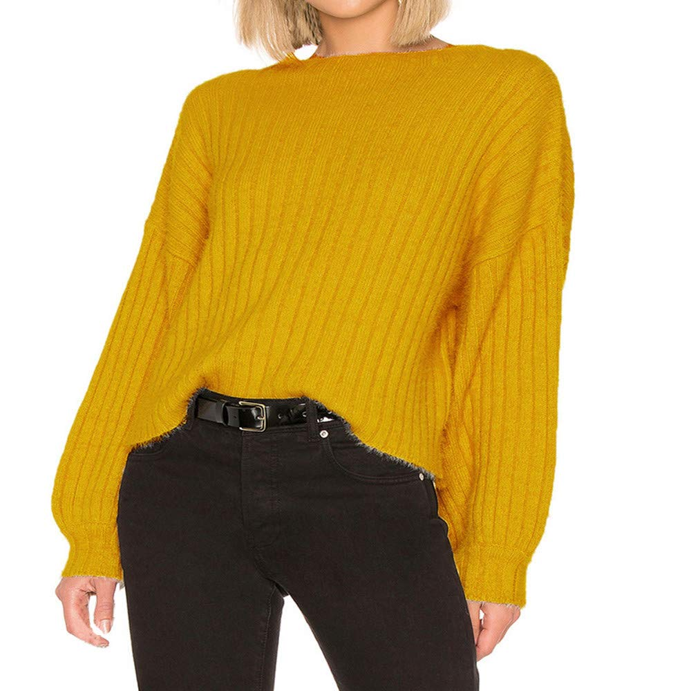Women Sweaters Women's Winter Warm Stand Collar Puff Sleeve Loose Fit Knit Sweater Pullover Tops