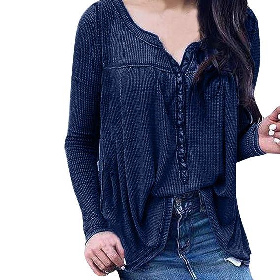 Yvelands Moda Mujer Blusa Color sólido Camisa de Manga Larga con Cuello en V Botón Causal