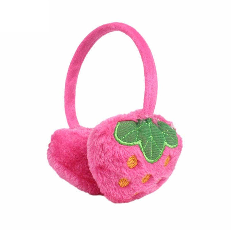 ompson 10 pcs/lot New fashion Lady girls Winter Ear Warmers Lovely Strawberry Cute Headband Winter Warm Earmuffs for Girl hot pink