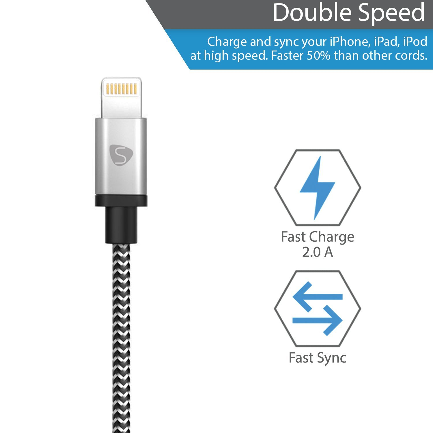 Smarty iPhone Charger MFi Certified Lightning Cable 6ft 3 Pack Nylon Braided Fast Charging & Sync Power Cord for iPhone X 8/8 plus 7/7 Plus/6/6S/6 Plus/6S Plus/5 5S 5C SE iPad 2 3 4 by Smarty (Image #3)