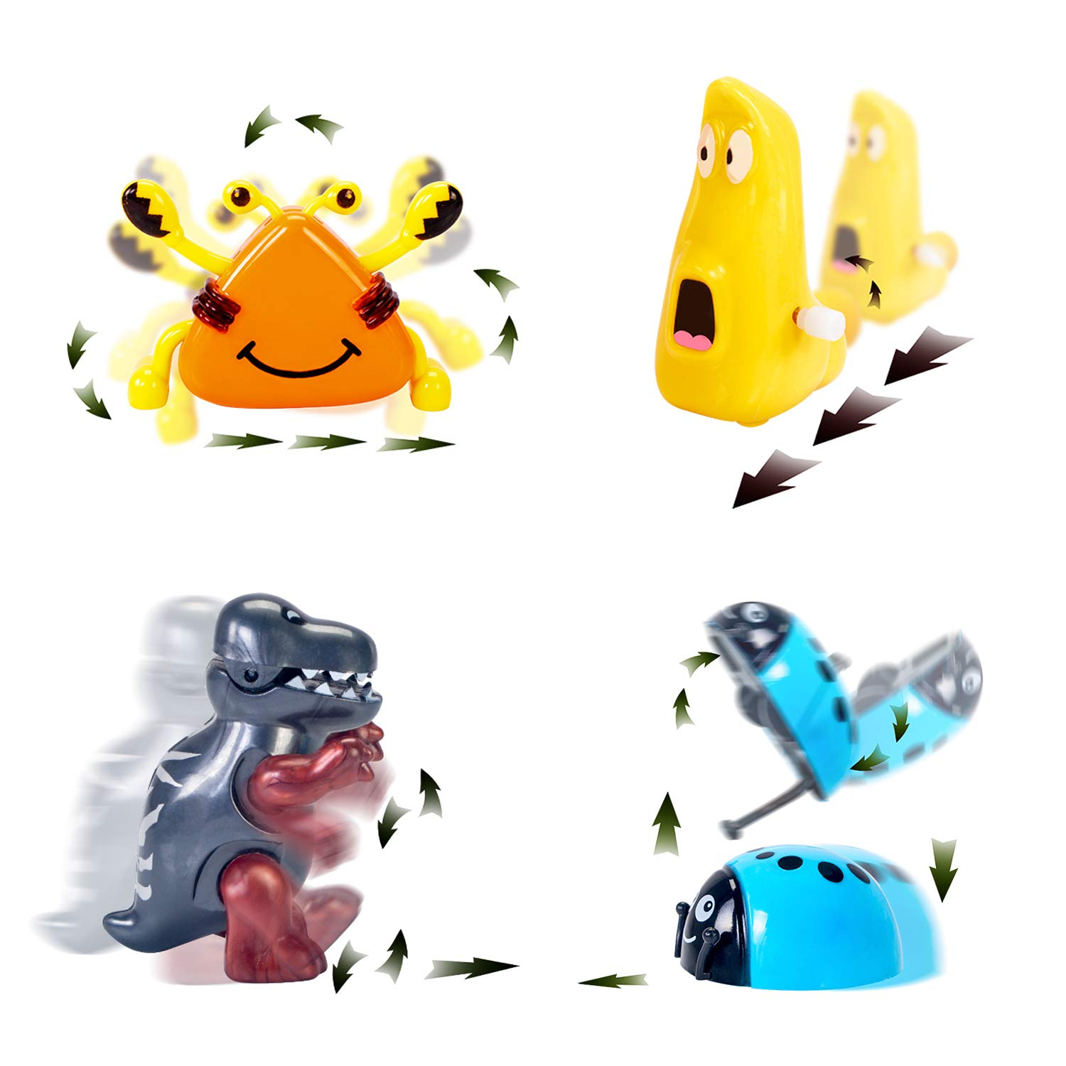 WishaLife Hatchimal Surprise Hatching Egg - Set of 8 Wind Up Animals Toys for Kids Birthday Gifts Party Favor (Includes Mouse, Dog, Dinosaur, Chick, Frog, Ladybug, Crab, Larva, Wooden Hammer) by WishaLife (Image #3)