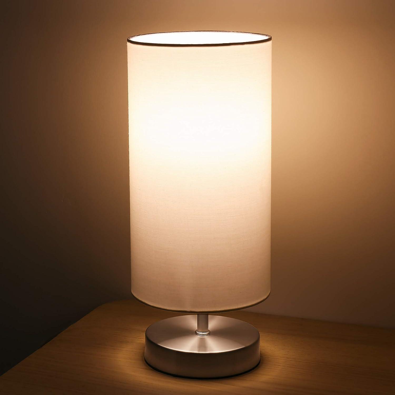 Lampara Mesilla de Noche Lámpara de Mesa,TECKIN Luz Nocturna LED Moderna para Dormitorio, Sala de Estar Habitación para Niños, Oficina, Pantalla cilíndrica de tela blanca(Bombilla Blanca LED incluida)