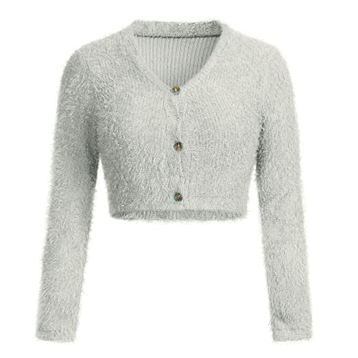 a247a253 KaiCran Womens V-Neck Button Fluffy Mohair Long Sleeve Knit Crop Top Cardigan  Sweater Tops at Amazon Women's Clothing store: