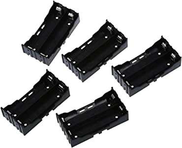 Iycorish 5 Pcs Black Plastic 2 x 3.7V 18650 Batteries 4 Pin Battery Holder Case