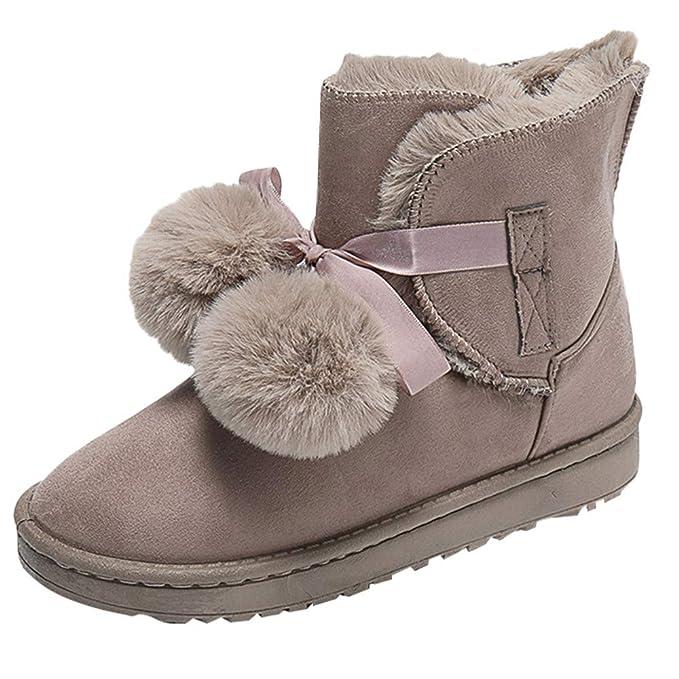Mymyguoe Invierno Mujer Botas de Nieve Calientes Forro de Felpa Casual Botines Antideslizante al Aire Libre Zapatos de Algodón: Amazon.es: Ropa y accesorios