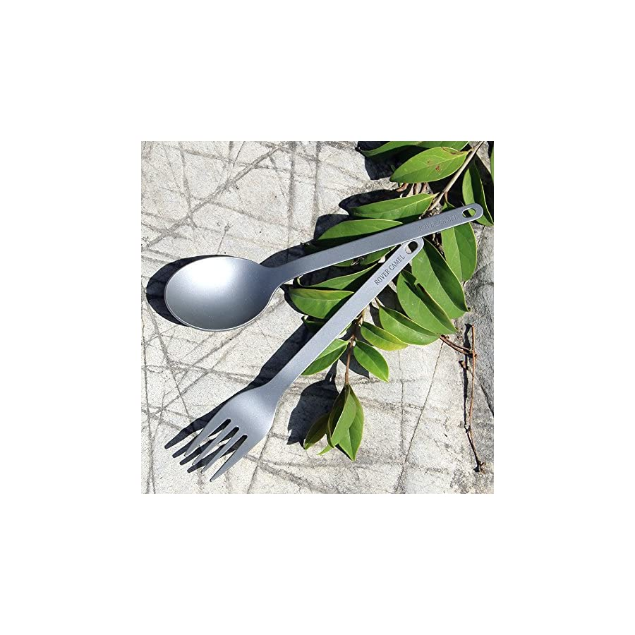 Titanium Lightweight Family Group Travelling Hiking Camp BBQ Backpacking Cycling Mountain Climbing Cookware Spoon Fork Tools Utensils Dishes Pocket Bonfire Hiking Camp Compact Durable Outdoor Cutlery