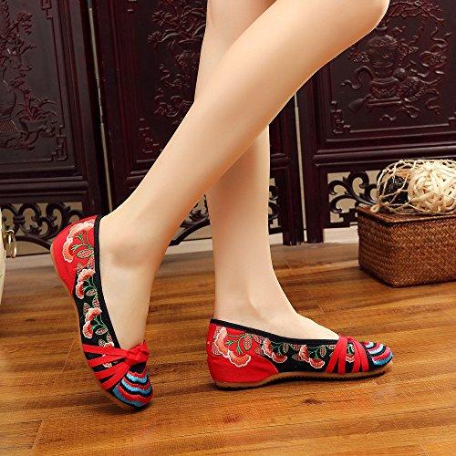 DESY Gestickte Schuhe, Sehnensohle, ethnischer Stil, weibliche Tuchschuhe, Mode, bequem, lässig innerhalb der Zunahme , red , 35
