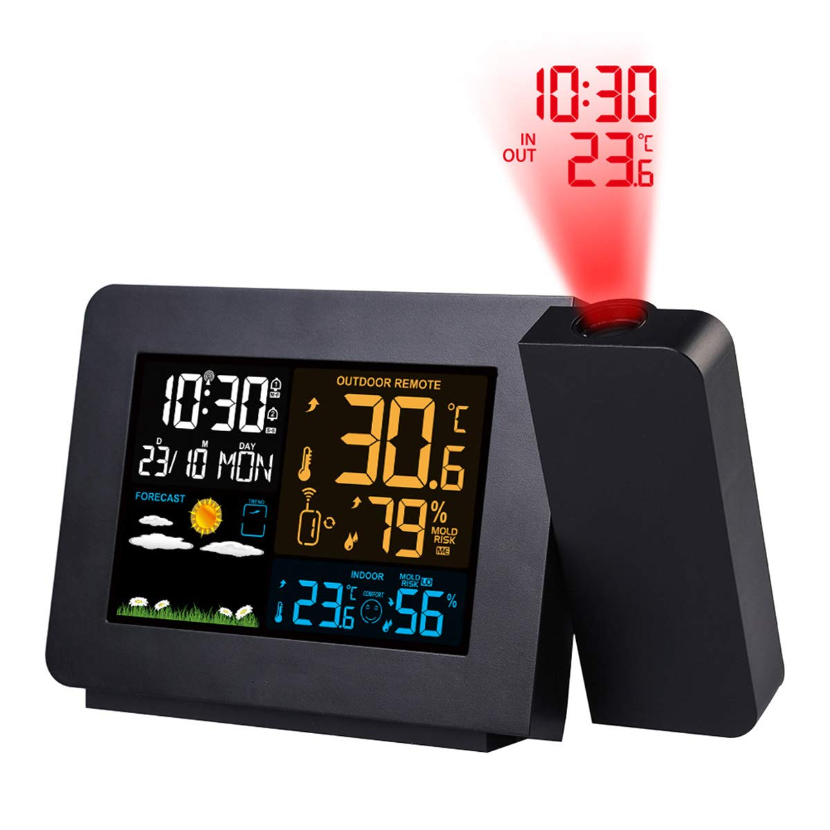 Uhruolo Digital Projection Alarm Clock - 180 Degree Adjustable Projector Clock on Ceiling with Temperature Display, Date Display, Dual Alarms, Weather Forecast, 4 Types of Backlight by Uhruolo