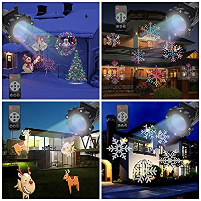 SUPOW LED Projector Light, 16 Switchable Patterns IR Remote Control Waterproof Outdoor Indoor Spotlight Night Light for Christmas Halloween Theme Party