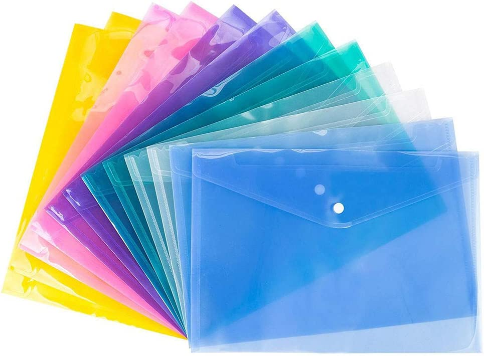 12 x Dokumententasche transparent A4 Aufbewahrungstasche Kunststoff Schule
