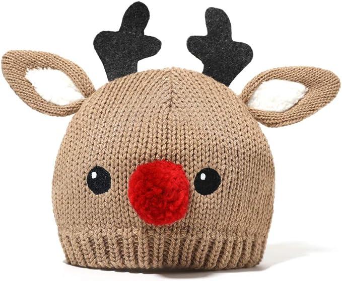 accsa Baby Winterm/ütze Rote Nase Rentier Beanie M/ütze f/ür S/äugling Baby Winter Warm Fleece Strickm/ütze f/ür Weihnachten