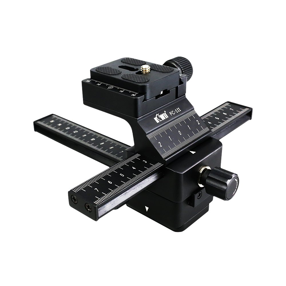 Kiwifotos Camera Macro Focusing Rail Slider with Arca Type Quick Release for Canon EOS 6D Mark II 7D Mark II 5D Mark IV III 80D 70D Rebel T6 T7i T6i Nikon D850 D7500 D5600 D5500 D3400 D3300 and More