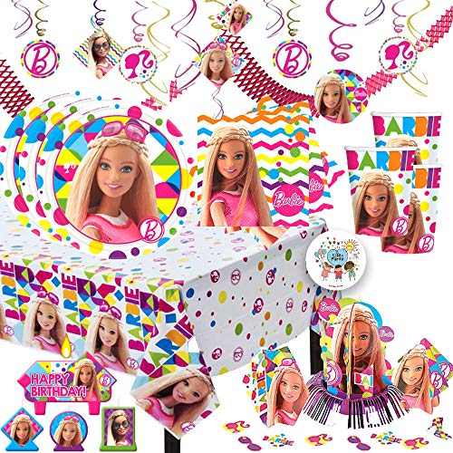 MEGA Barbie Sparkle Birthday Party Supplies Pack For 16 With Dessert Plates and Napkins, Tablecover, Cups, Swirls, Table Decorating Kit, Candles, Garland, and Exclusive Pin By Another Dream -
