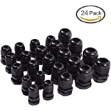 Teenitor 24 Pcs Plastic Waterproof Adjustable 3.5 - 13mm Cable Gland Joints, PG7, PG9, PG11, PG13.5, PG16, Pack of 24