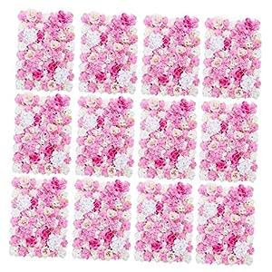 Fenteer Pack of 12 Romantic Simulation Silk Flower Wall Panel Mat for Wedding Studio Backdrop Venue Decorations Hot Pink 14