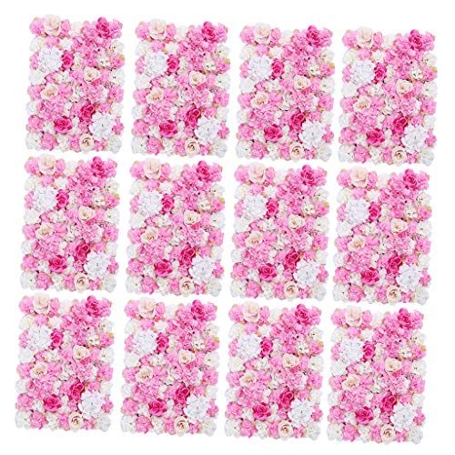 Prettyia Pieces of 12 Romantic Silk Flower Wall Panel Mat Indoor Outdoor Home Garden Hanging Wedding Venue Decor Hot Pink 40 x 60cm from Prettyia