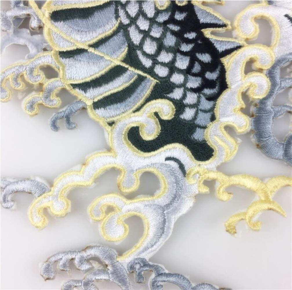 DDOQ Creative Embroidery Dragon Applique Sew On Patches DIY Dress Craft Grey
